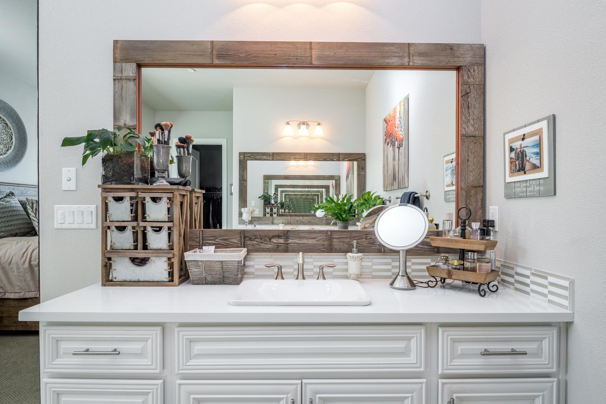 master bathroom custom mirror frames  style revamp